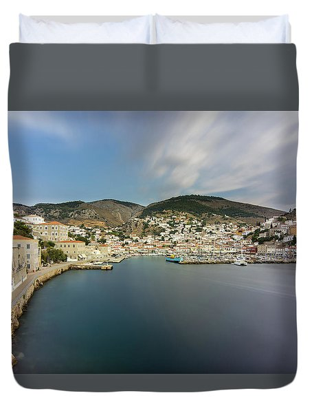 Port At Hydra Island Duvet Cover