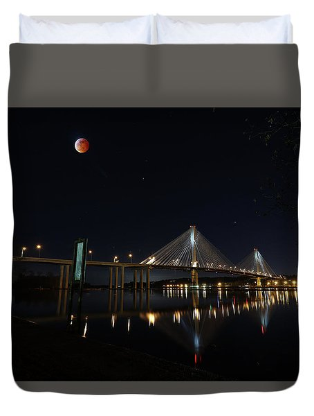 Port Mann Bridge With Blood Moon Duvet Cover