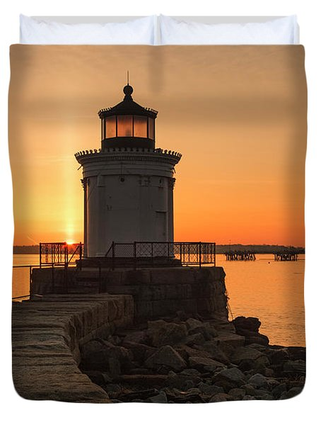 Duvet Cover featuring the photograph Portland Breakwater Lighthouse - Portland Harbor, Maine by Erin Paul Donovan