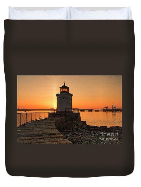 Portland Breakwater Lighthouse - Portland Harbor, Maine Duvet Cover