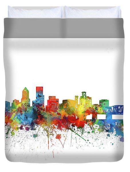 Portland City Skyline Watercolor Duvet Cover