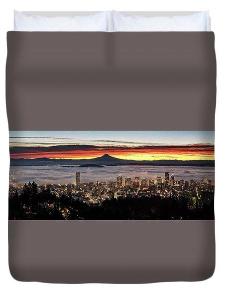 Portland Foggy Sunrise Duvet Cover