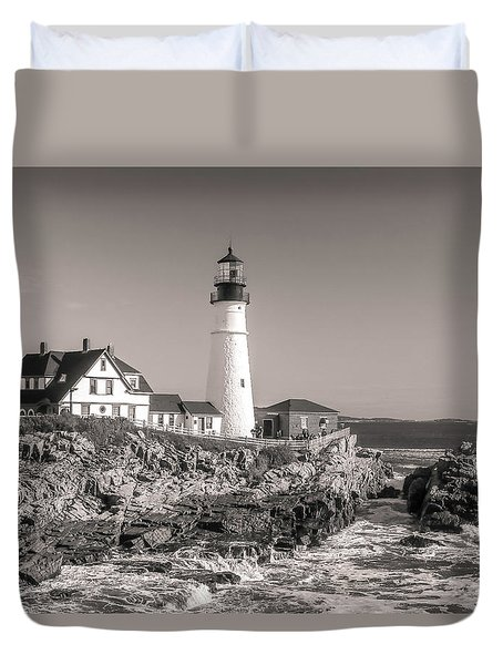 Duvet Cover featuring the photograph Portland Head Light Black And White by Dan Sproul
