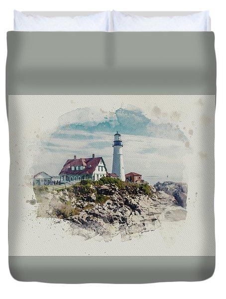 Portland Head Lighthouse Cape Elizabeth Maine Duvet Cover