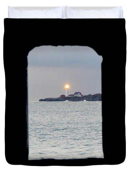 Portland Head Lighthouse Through The Gun Port Duvet Cover