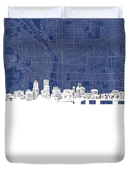 Portland Skyline Map Blue Duvet Cover