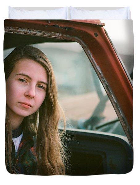 Portrait In A Truck Duvet Cover