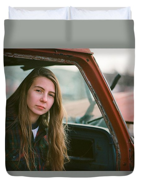 Portrait In A Truck Duvet Cover