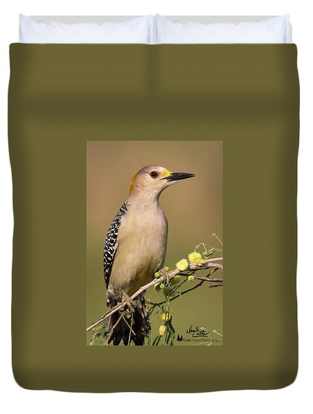 Portrait Of A Golden-fronted Woodpecker Duvet Cover