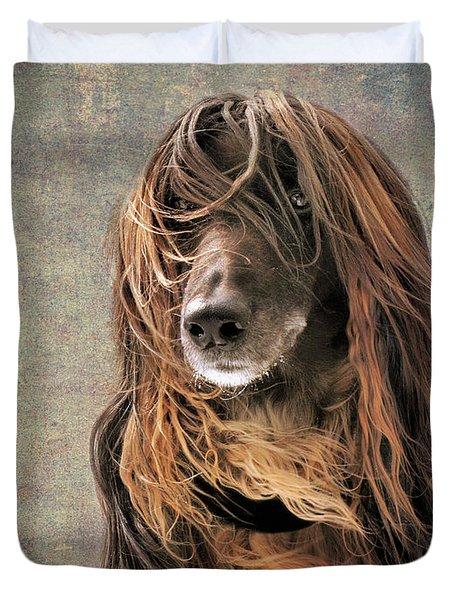 Portrait Of An Afghan Hound Duvet Cover