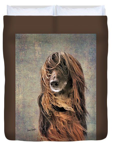 Portrait Of An Afghan Hound Duvet Cover