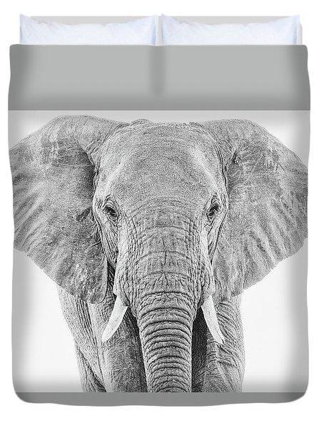 Portrait Of An African Elephant Bull In Monochrome Duvet Cover