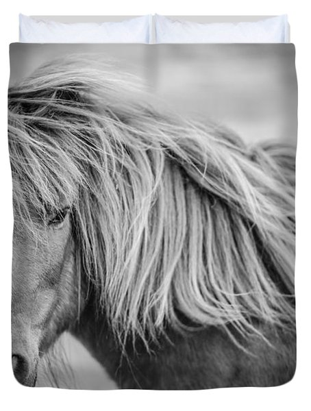 Duvet Cover featuring the photograph Portrait Of Icelandic Horse In Black And White by Gigi Ebert