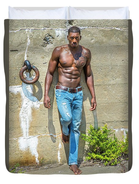 Portrait Of  Young Black Fitness Guy Duvet Cover