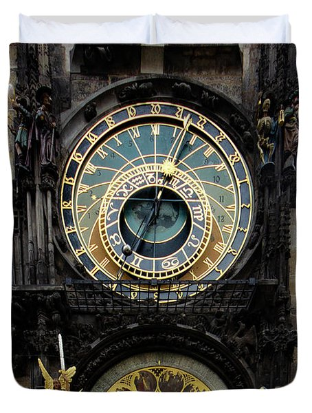 Prague Astronomical Clock Duvet Cover