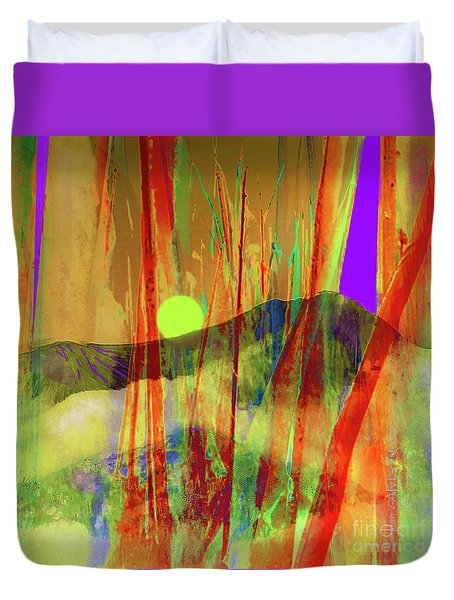 Many Blessings Prayer Flags Over Green Mountains Duvet Cover