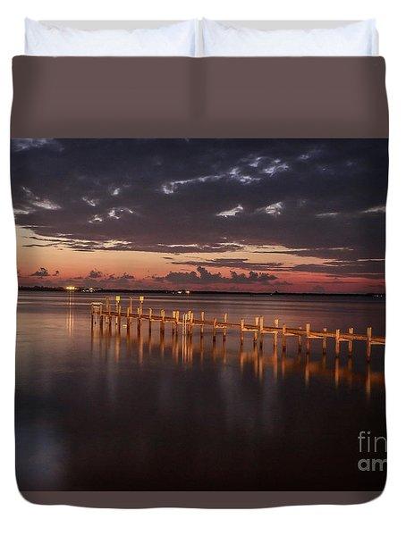 Pre-dawn Pier Glow Duvet Cover
