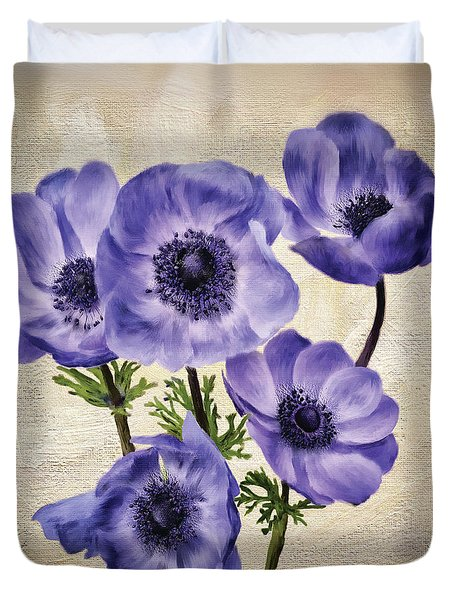 Pretty Periwinkle Poppies Duvet Cover