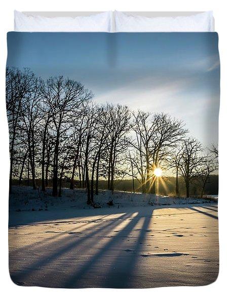 Pretty Winter Sun Rise Scene Duvet Cover