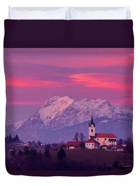 Prezganje Church With Snowy Kamnik Alps At Sunset Duvet Cover