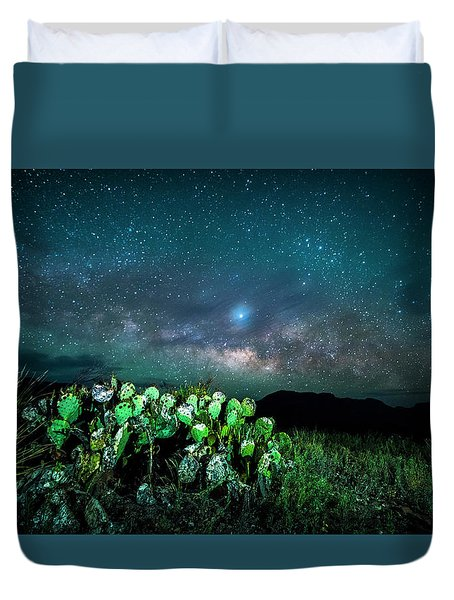 Prickly Pear Beneath The Milky Way Duvet Cover