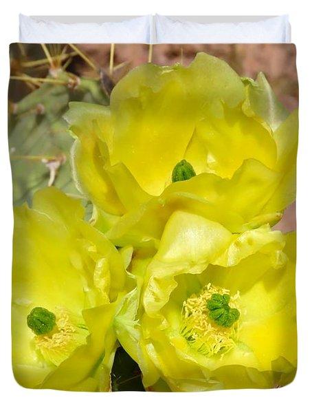 Prickly Pear Cactus Trio Bloom Duvet Cover