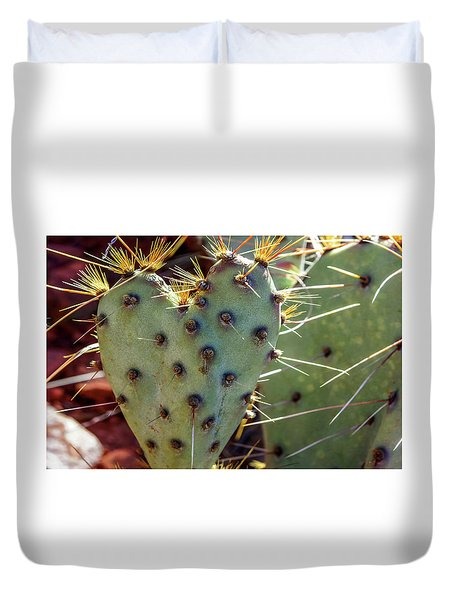 Duvet Cover featuring the photograph Prickly Pear Heart 1 by Dawn Richards