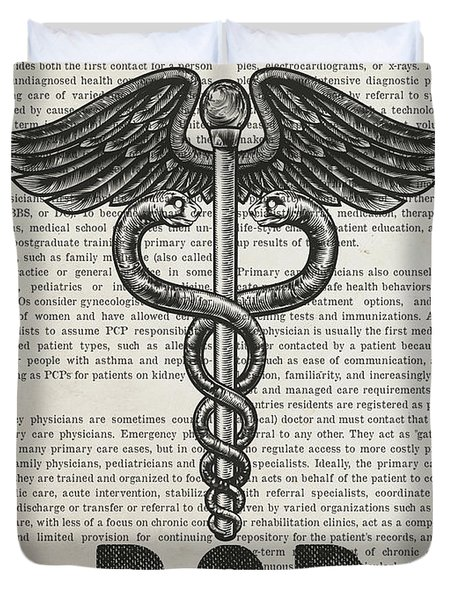 Primary Care Physician Gift Idea With Caduceus Illustration 01 Duvet Cover