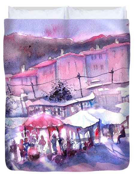 Provence Market Early Morning Duvet Cover