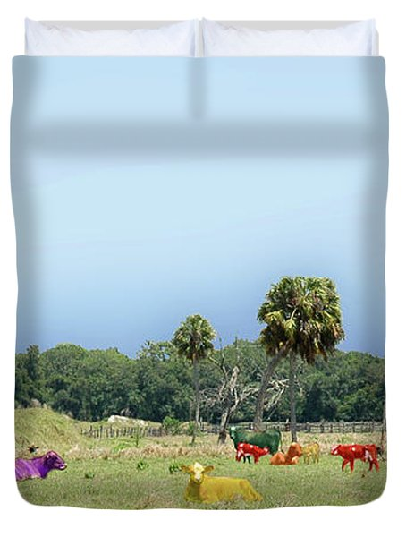 Psychedelic Cows Duvet Cover