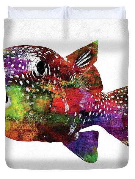 Puffer Fish Watercolor Duvet Cover