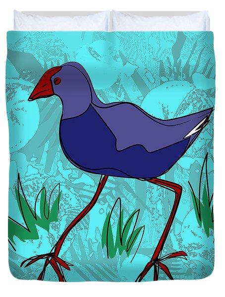 Pukeko In Blue Duvet Cover