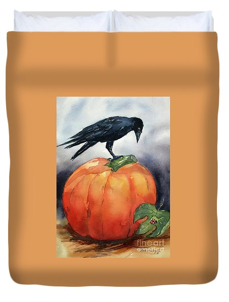 Pumpkin And Crow Duvet Cover