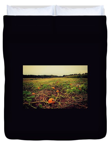 Duvet Cover featuring the photograph Pumpkin Picking by Candice Trimble