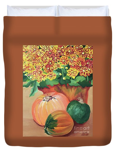 Pumpkin With Flowers Duvet Cover