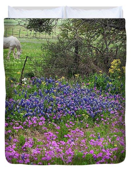 Bluebonnets And Pure Texas  Duvet Cover