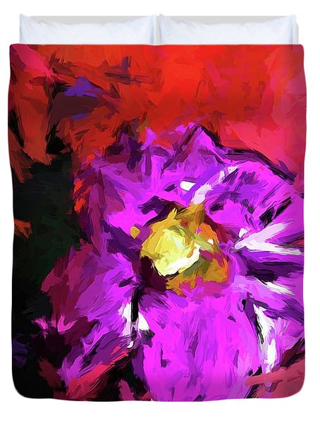 Purple And Yellow Flower And The Red Wall Duvet Cover
