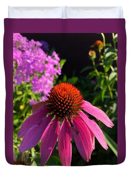 Duvet Cover featuring the photograph Purple Coneflower by Lukas Miller