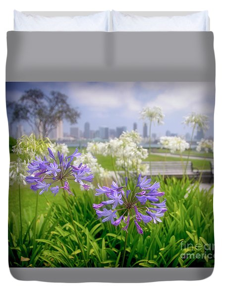 Purple Flowers In San Diego Duvet Cover