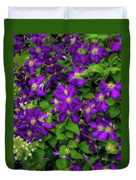 Duvet Cover featuring the photograph Purple Flowers by Lora J Wilson
