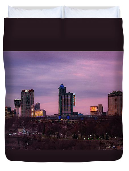 Purple Haze Skyline Duvet Cover