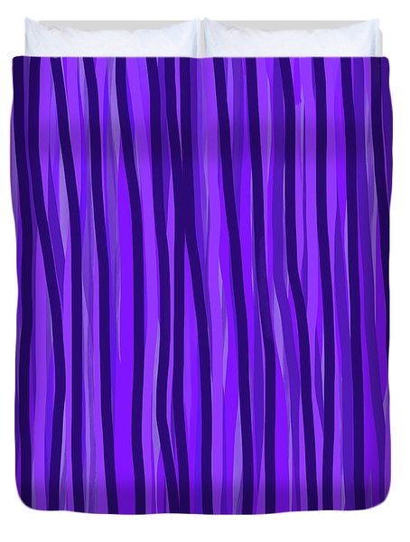Purple Lines Duvet Cover