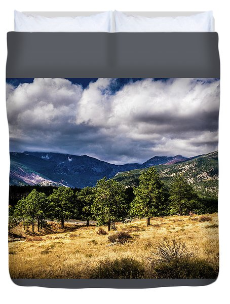 Duvet Cover featuring the photograph Purple Mountains by James L Bartlett