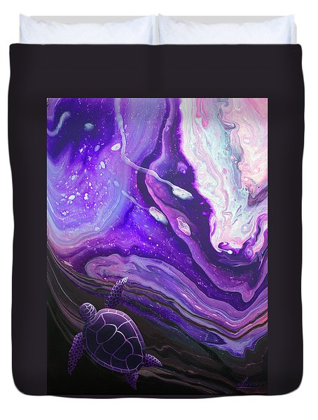 Duvet Cover featuring the painting Purple Munchkin by William Love