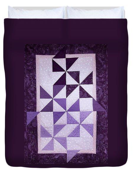 Purple Pinwheels Pirouetting Duvet Cover