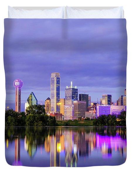 Purple Rain City Of Dallas Texas Duvet Cover