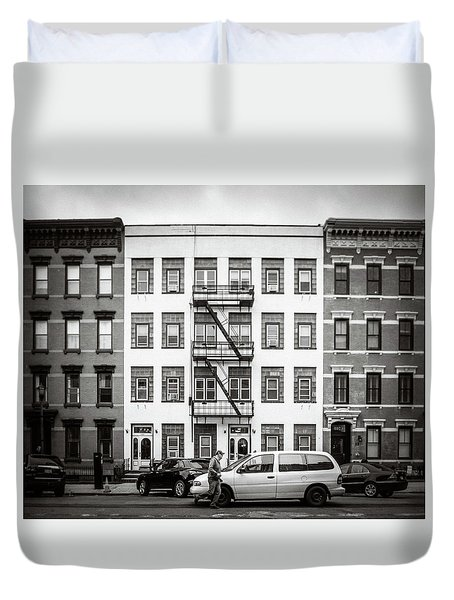 Duvet Cover featuring the photograph quick delivery BW by Steve Stanger