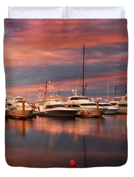 Quiet Evening On The Marina Duvet Cover