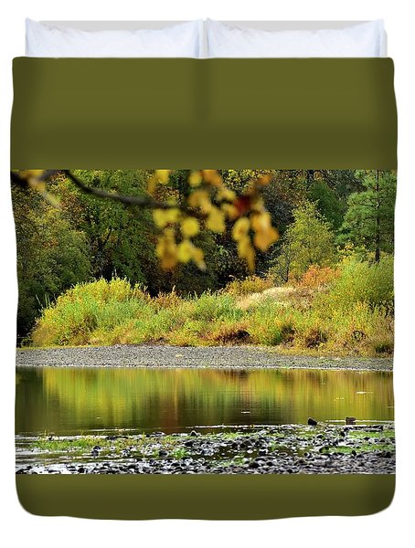 Duvet Cover featuring the photograph Quiet Illinois River Autumn by Jerry Sodorff