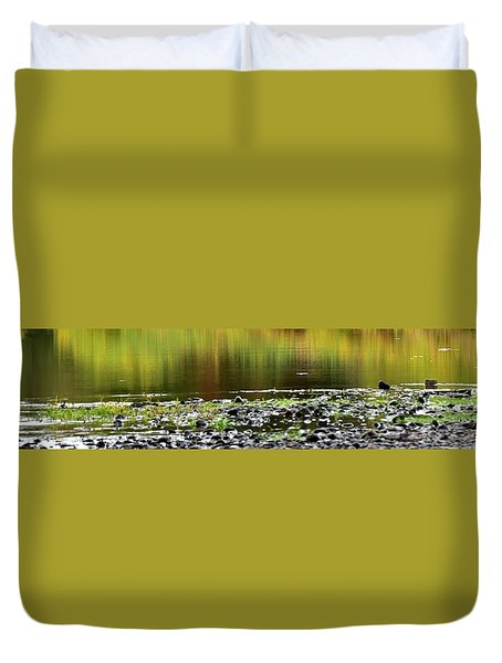 Duvet Cover featuring the photograph Quiet Illinois River Autumn Reflections by Jerry Sodorff